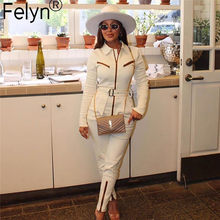 Felyn 2020 New Arrival Elegant Jumpsuits Zip Design Turn-down Collar Belted Street Wear Sexy Rompers(China)