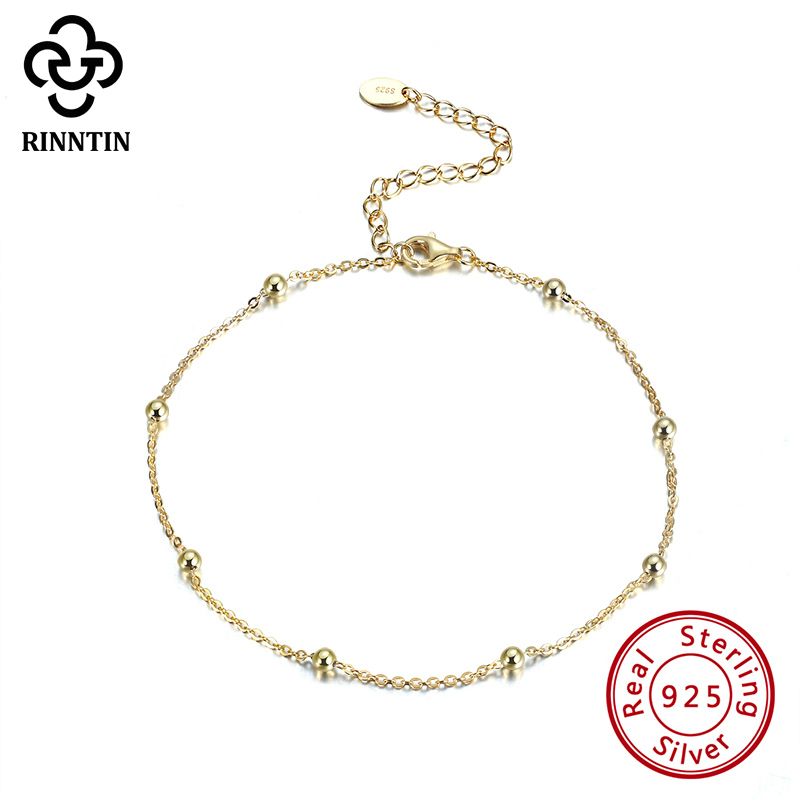 Rinntin Real 925 Sterling Silver Round Shape 14K Gold Plating Anklet 5CM Extension Chain For Girls Gift Engagement TSA05