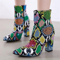 2019 New Women 10cm High Heels Boots Fetish Pointed Toe Boots Serpentine Zip Ankle Boots Prom Autumn Snake Print Stripper Shoe