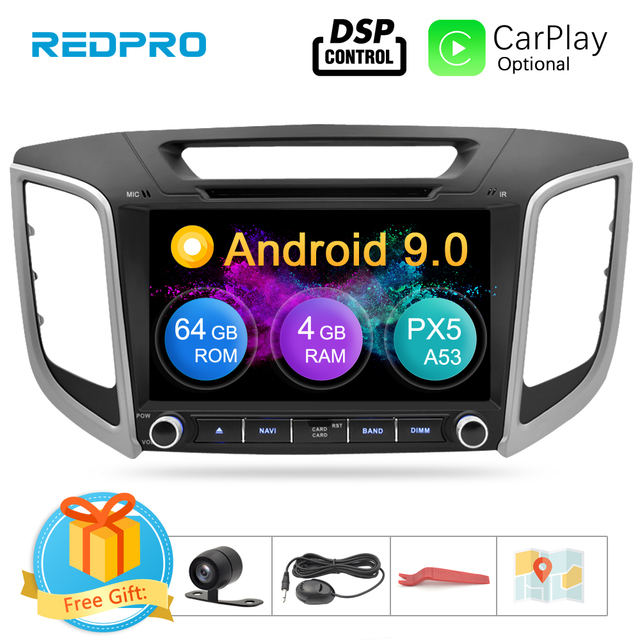 "9"" IPS Screen Android 9.0 Car DVD Player For Hyundai ix25 Creta 2014 2018 Stereo 2 Din Video GPS Navigation Radio FM Multimedia"