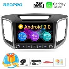 """9 """"ekran IPS Android 9.0 samochodowy odtwarzacz dvd dla Hyundai ix25 Creta 2014 2018 Stereo 2 Din wideo radiowa nawigacja gps FM Multimedia"""