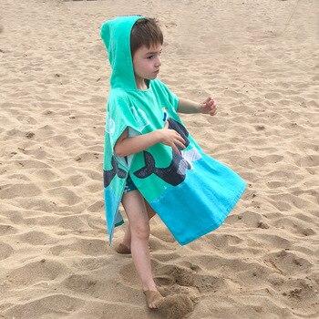 Kids Poncho Towels Hooded Bathrobe for Girls Boys Quick Dry Cotton Beach Towel Cartoon Children Bath Towel Baby Swimming Towel 5