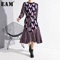 [EAM] vestido ceñido con estampado de patrón para mujer, nuevo vestido con cuello redondo, manga larga, suelto, tendencia a la moda, primavera otoño 2020 1N25009