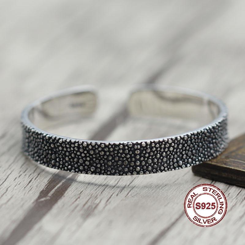 S925 bracelets en argent Sterling Simple et généreux rétro personnalité couple style Unique pour créer une modélisation fine envoyer un cadeau amour