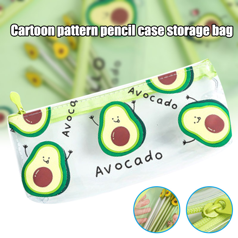 New Arrival Cute Avocado Pencil Case Transparent School Student Office Stationery Bag