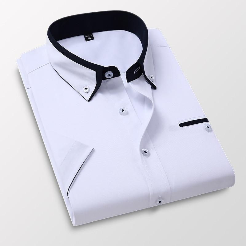 Mens Short Sleeve Shirts Slim Fit Formal Male White Naby Blue Grey Business Social Dress Shirts 2020 Summer Men's Clothing 1