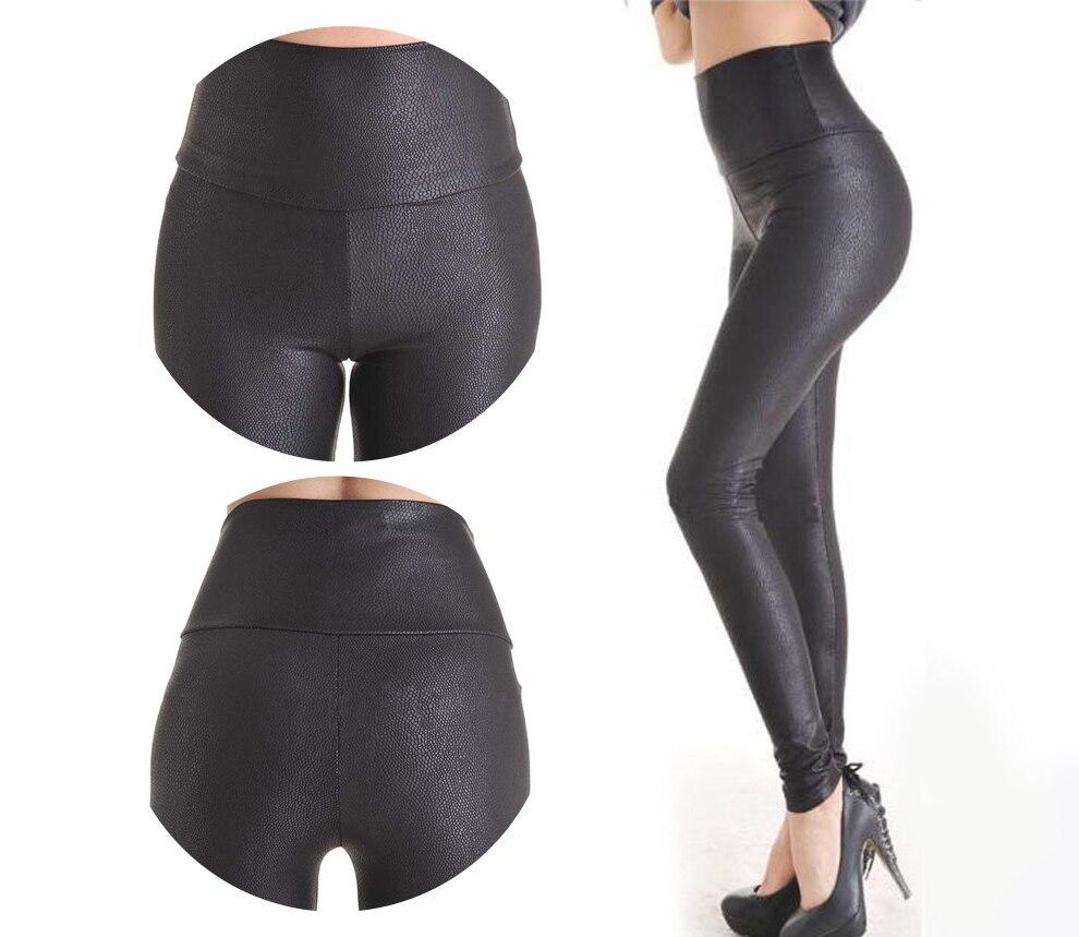 2018  High Waist Quality Faux Leather Pants Plus Size New Sale Fashion Serpentine Sexy Leggings Womens Leggins Stretch