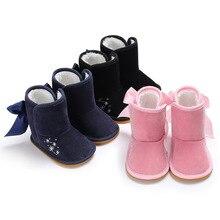 Boots Shoes Toddler Infant Girls Winter Warm Velvet Big-Bows Snowflake-Print Anti-Slip