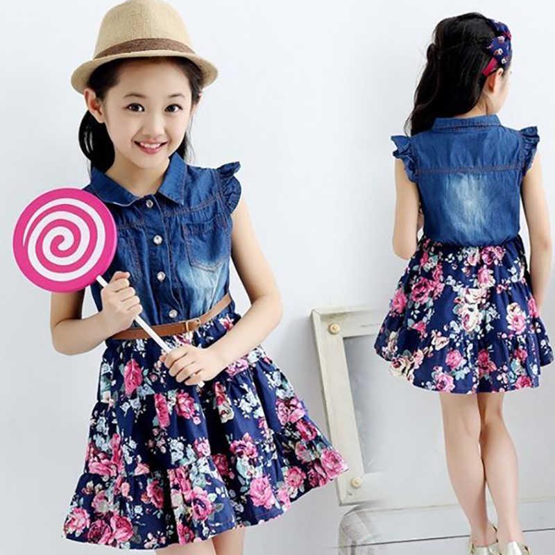 Детское платье нарядное платье для девочек детская одежда лето 2019 г., новые джинсы с короткими рукавами для девочек шифоновое платье с цветочным рисунком платье для девочек