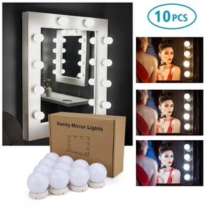 Image 2 - Bộ 10 Đèn Led Gương Trang Điểm Sáng Đèn Vanity Gương Trang Điểm Mờ Hollywood Đèn Tường Đựng Mỹ Phẩm Gương Cho Bàn Trang Điểm