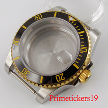 BLIGER 40mm watch case gold marks ceramic black bezel solid backcover fit NH35 movement(China)