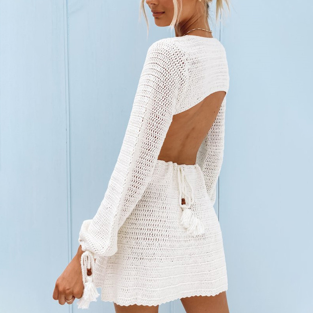 Summer Knitted Hollow Out Backless Women Dress Deep V-Neck Long Sleeve Lace Up Female Mini Dresses Sexy Slim Casual Lady Clothes 3