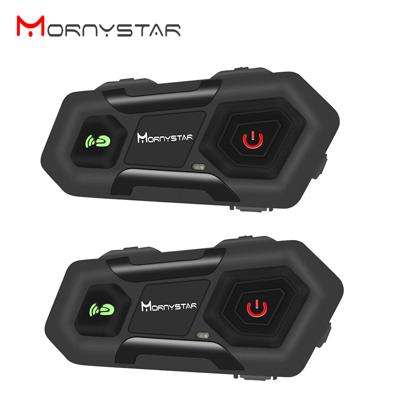 2pcs Mornystar M2 1600m Motorcycle Helmet Intercom Group 3 Rider Helmet Bluetooth Headset Waterproof Handsfree Interphone Moto