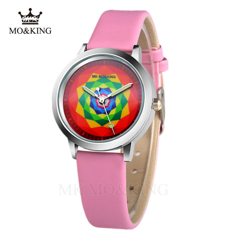 2020 Cartoon Kaleidoscope Pattern Quartz Boy Leather Children Watch Pink Girl Holiday Gift Clock Relogio Kol Saati Relojes Reloj