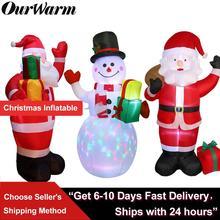 OurWarm decoraciones navideñas para Santa Claus muñeco de nieve, artículos de utilería hinchables, juguete inflable para interiores y exteriores, decoraciones para jardín, 150cm