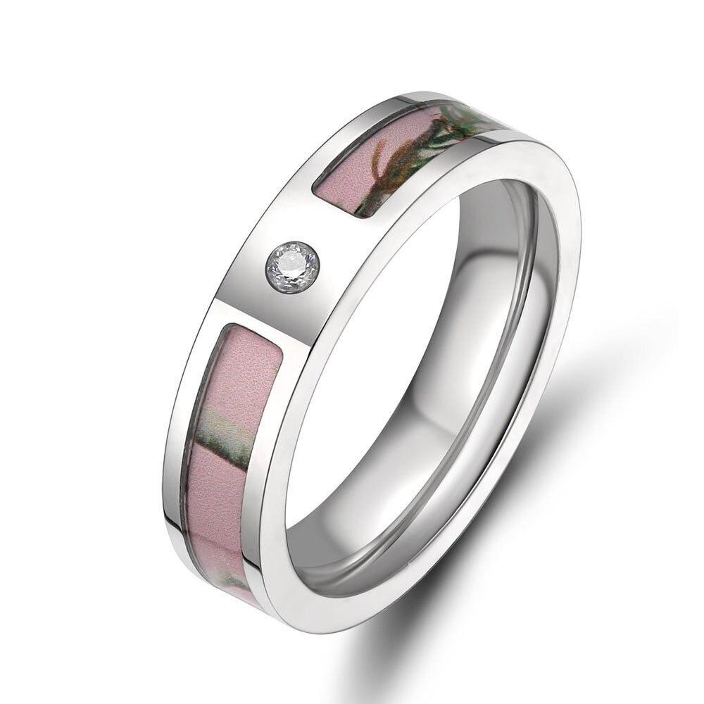 Eamti Women's Pink Real Forest Tree Camo Titanium Wedding Ring with Small Cz Stone Size 5-10 aneis feminino Women Jewelry Gift