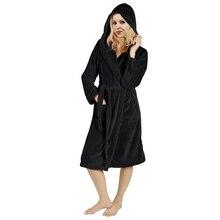 Winter Women's Long Sleeve Hooded Robe to Knee Robe Loose Ba