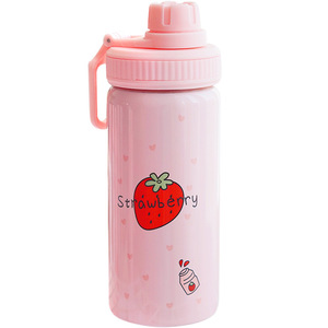 Image 5 - 400ML Cute Pink Strawberry Water Bottle New Kawaii Stainless Steel Thermos Bottle With Straw Birthday Gift For Girl Women