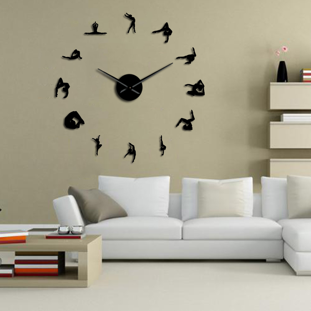 Gymnastics Girls Silhouette Mirror Wall Stickers DIY Wall Clock Sport Athlete Girl Gymnast Home Decor Frameless Large Wall Watch