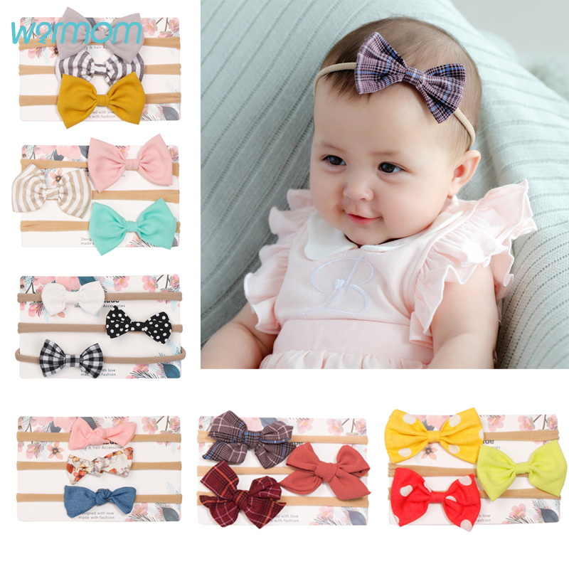 Warmom 3PCS/lot Bowknot Baby Girls Headband Infant Elastic Nylon Hair Band Bandeau Newborn Headwear Kids Hair Accessories Gift