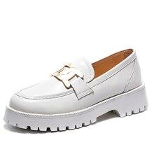 Aiyuqi sapatos femininos primavera 2021 novo branco grosso-sola senhoras tênis de couro genuíno casual tendência sapatos menina estudantes
