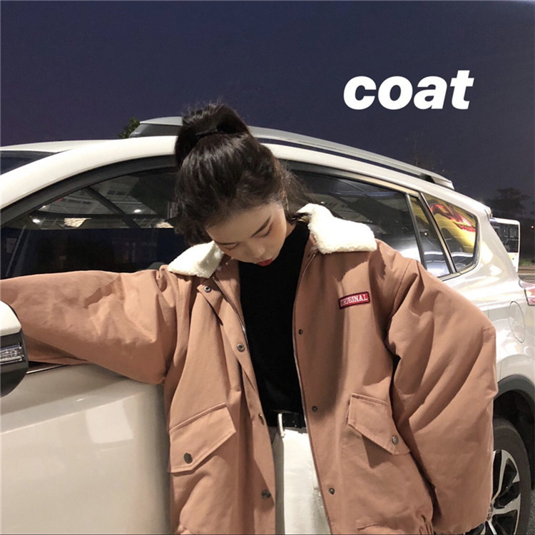 Manya Autumn And Winter New Style Korean-style Thick Corduroy Loose-Fit Versatile Workwear Cotton Coat (Send Two Fur Collar) Wom