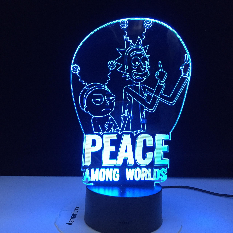Frieden Unter Welten Rick & Morty Lampe Kinder Nachtlicht für Schlafzimmer Dekoration Touch Sensor Ändern 3d Led Nacht Licht Dropship