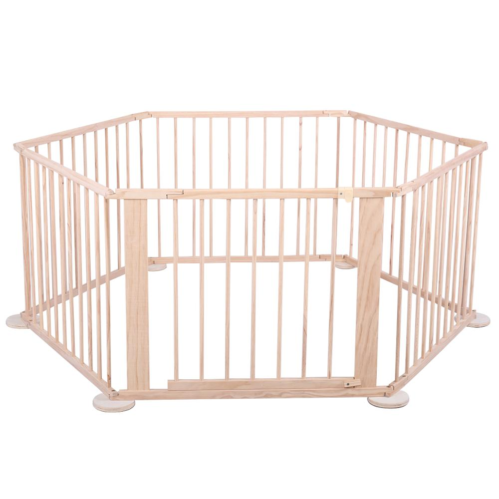 6 Panel Wooden Foldable Baby Playpen Indoor And Outdoor Safety Activity Centre Kid Play Yard Home Fence Easy To Assemeble CL5782