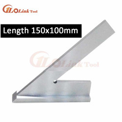 Stainless Steel 45 Degree Miter Angle Corner Ruler Wide Base Gauge Measuring Tools DIN875/2 Standard With Stop 150x100mm