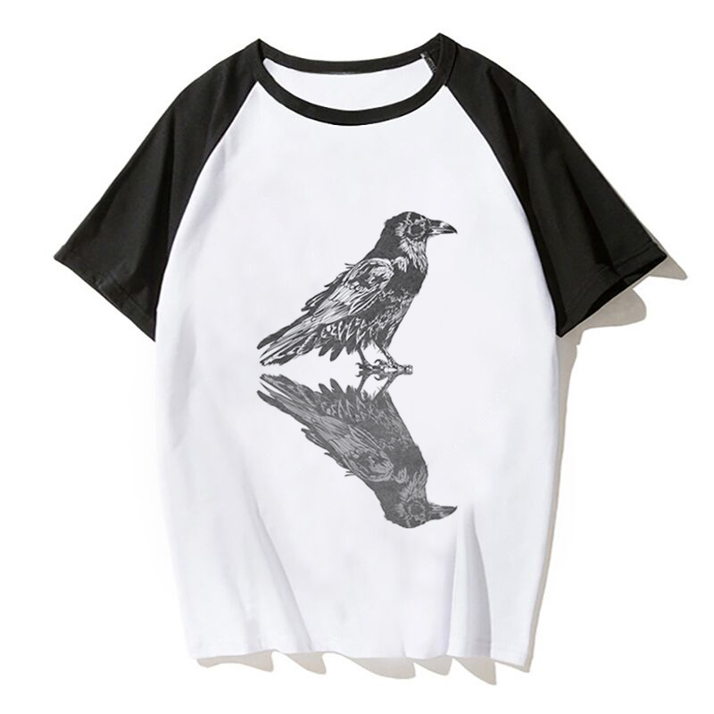 Crow And Compass Tattoo T Shirts Men Women T-Shirt Short Sleeve Tees O Neck Tops Man Short Sleeve image