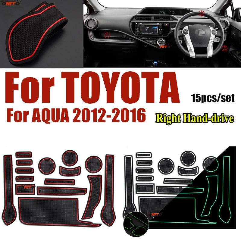 For Toyota AQUA 2012-2016 Anti-slip Rubber Cup Mat Cushion Door Groove Pad Car Interior Slot Gate Mat 15pcs/set Right Hand-drive