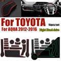 Pour Toyota AQUA 2012-2016 anti-dérapant en caoutchouc tasse tapis coussin porte rainure Pad voiture intérieur fente porte tapis 15 pièces/ensemble conduite à droite