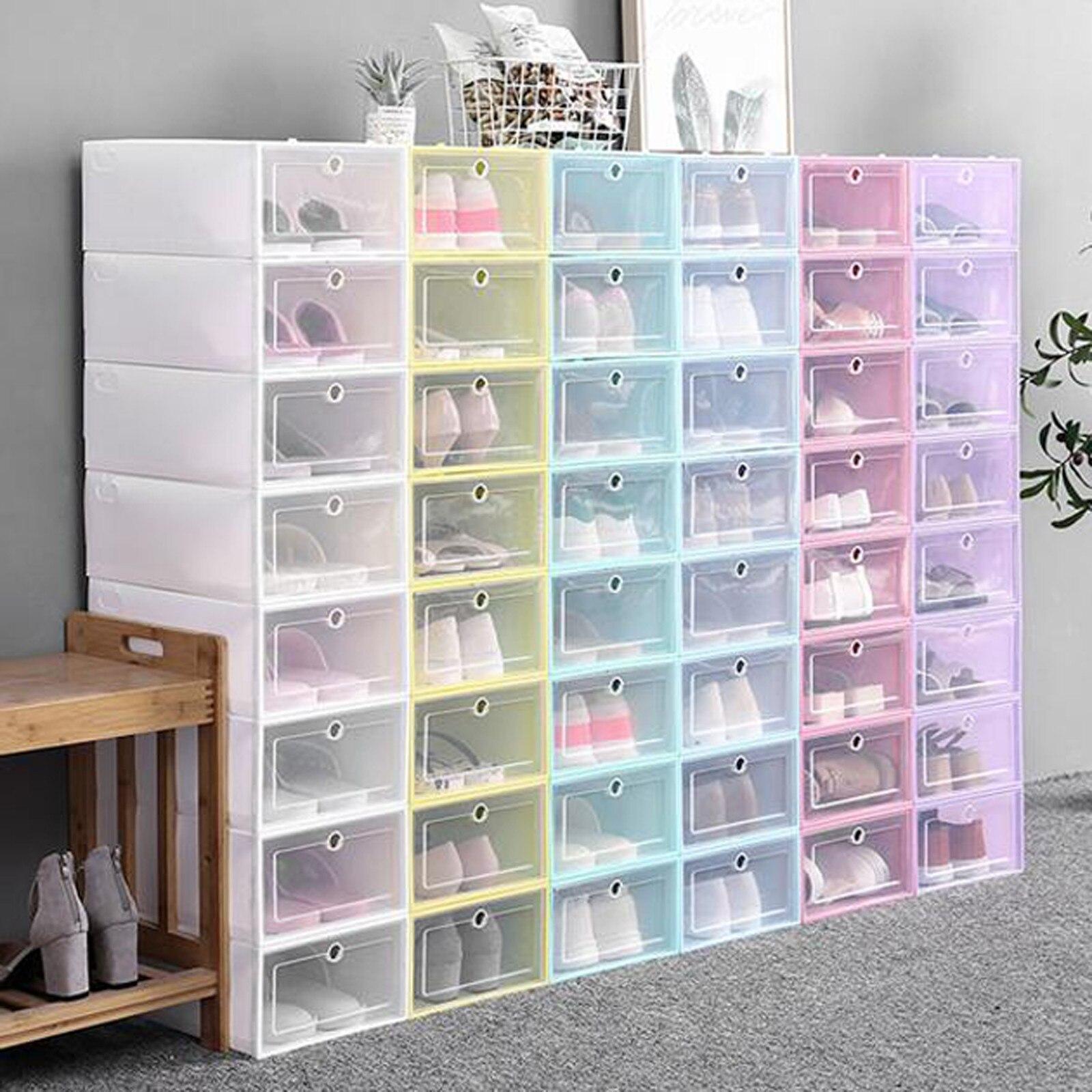 20 Kind Plastic Shoe Box Stackable Foldable Shoe Organizer Drawer ...