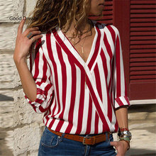 Women Striped Blouse Shirt Long Sleeve V-neck Shirts Casual