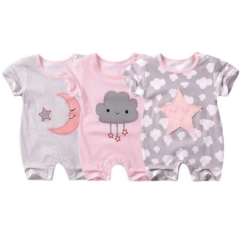 Urso estilo macacão nuvem cinco estrelas bebê curto-sleeved macacão bebê macacão verão vestido pijamas infantil roupas de verão recém-nascido
