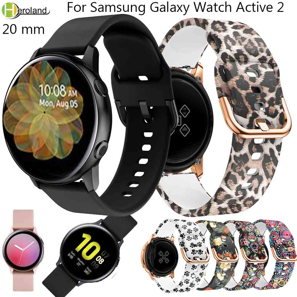 20mm Printing Silicone Active2 Watchband For Samsung Galaxy Watch Active 2 40mm 44MM Bracelet Band Strap For Garmin Move Style