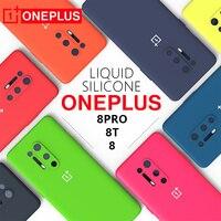 OnePlus-funda Original para móvil, carcasa trasera de silicona líquida para One Plus 8PRO 8T 8, funda suave a prueba de golpes, protección completa