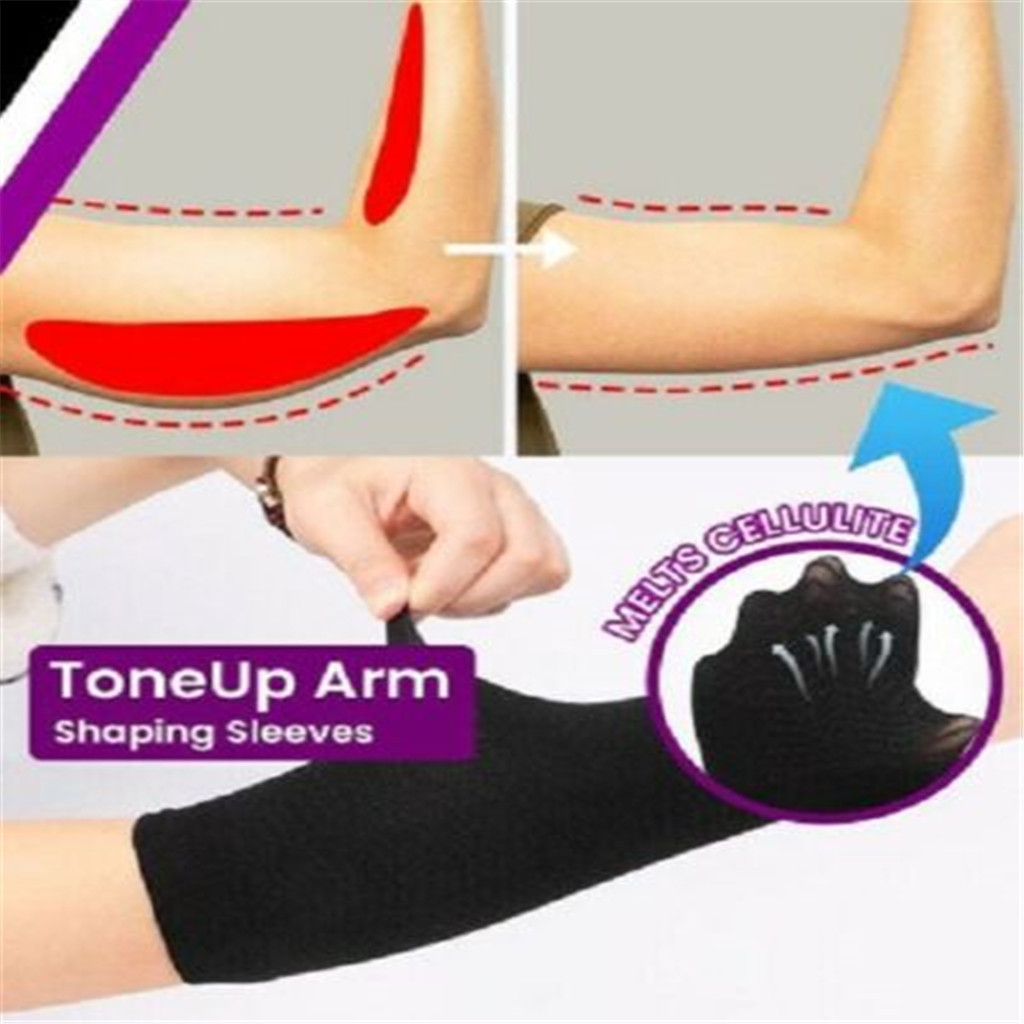 1Pair Slimming Compression Arm Shaper Slimming Arm Belt Helps Tone Shape Upper Elastic Arm Sleeve Shape Taping Massage For Women