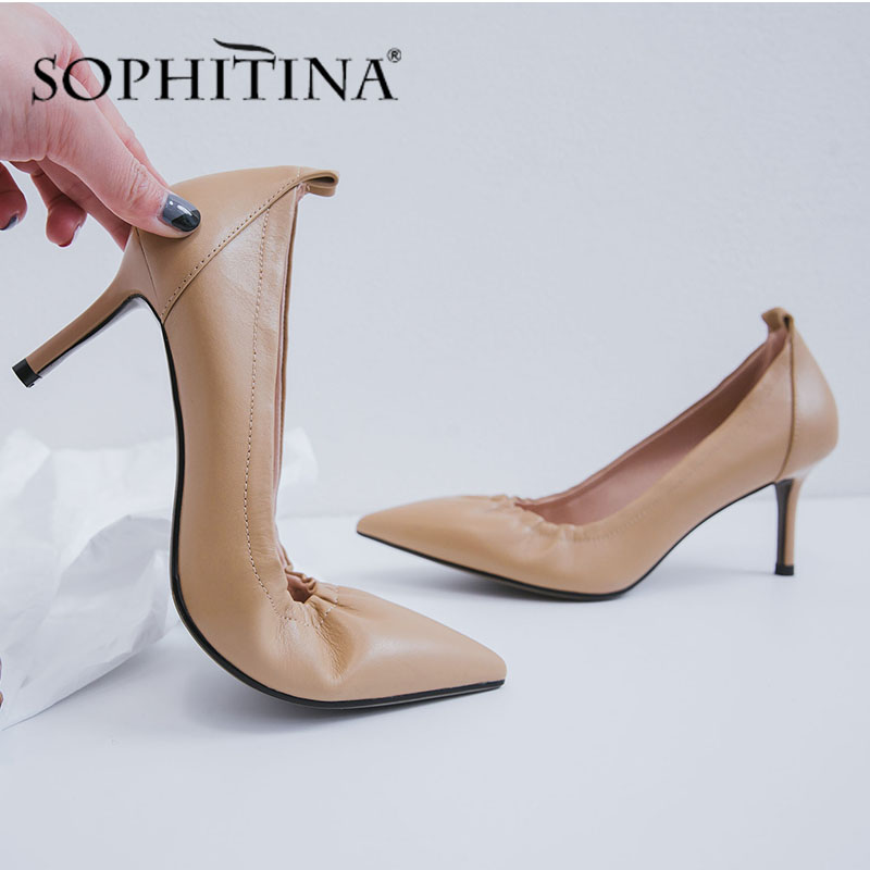 SOPHITINA Office Women' S Pumps Shallow Pleated Design High Quality Cow Leather Slip-On Comfortable Shoes Thin Heels Pumps PO476