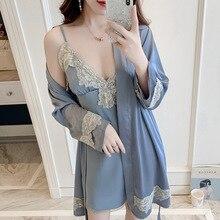 Women Autumn Cotton Robe And Gown Set Sexy Lace Trim Night Dress & Robe 2Pcs Pajamas Fashion Floral Bathrobe Sleepwear Homewear