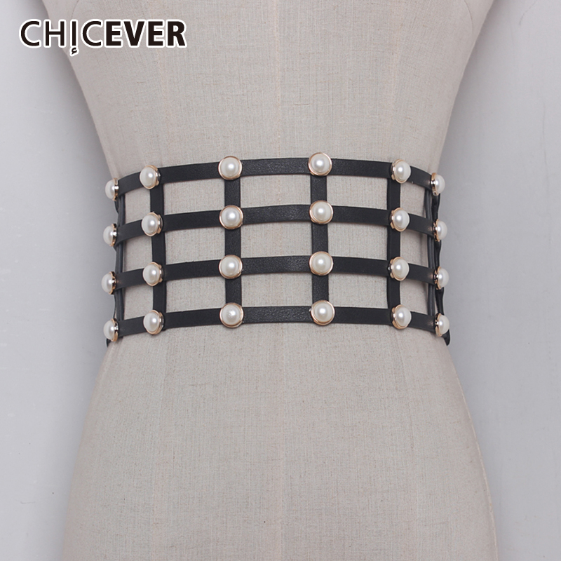 CHICEVER PU Leather Pearl Female Belt Corset Black Elasitc Wide Belts For Women Dress Cummerbund Belts Fashion Clothes Accessory