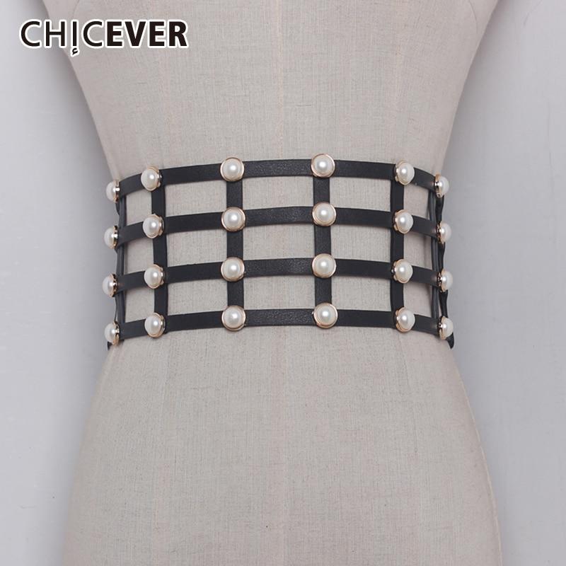 CHICEVER PU Leather Pearl Female Belt Corset Black Elasitc Wide Belts For Women Dress Cummerbund Belts Fashion Clothes Accessory