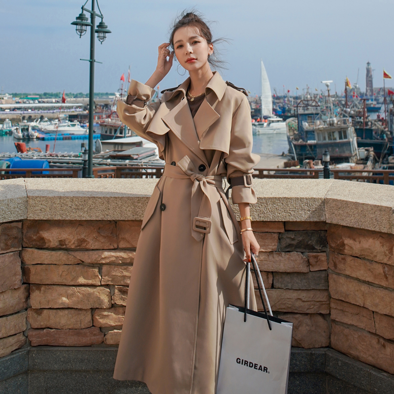 England Style Women Trench Coat Long Double-Breasted with Belt Female Outerwear Spring Autumn Lady Clothes Loose Oversize