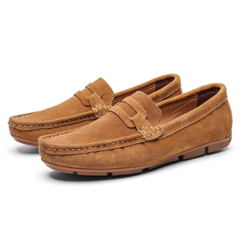 حذاء كاجوال ل حذاء رجالي جلد الغزال الرجال قارب الأحذية الفاخرة العلامة التجارية اليدوية الرجال Slipon اللباس الأحذية الذكور Skor JKPUDUN