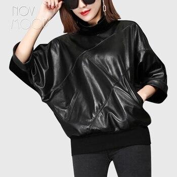 Novmoop-abrigo de piel auténtica con manga de murciélago y cuello de tortuga...