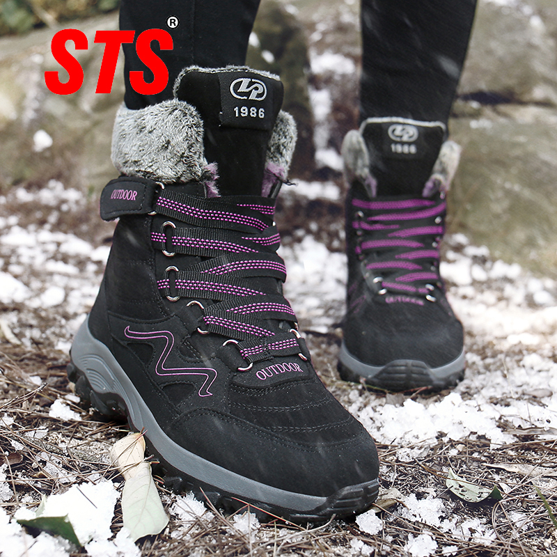 STS New Arrival Fashion Suede Leather Women Snow Boots Winter Warm Plush Women's boots Waterproof Ankle Boots Flat shoes 35-42