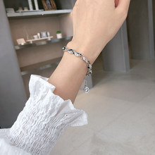 ANENJERY-pulsera de cadena gruesa de cara sonriente para hombre y mujer, de Plata de Ley 925, joyería diaria, regalos, S-B405 al por mayor