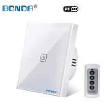 BONDA Interruptor de control remoto RF 86x86, interruptor de cristal templado con control por aplicación, EU / UK 1/2/3, negro, blanco, dorado, con Broadlink rm pro