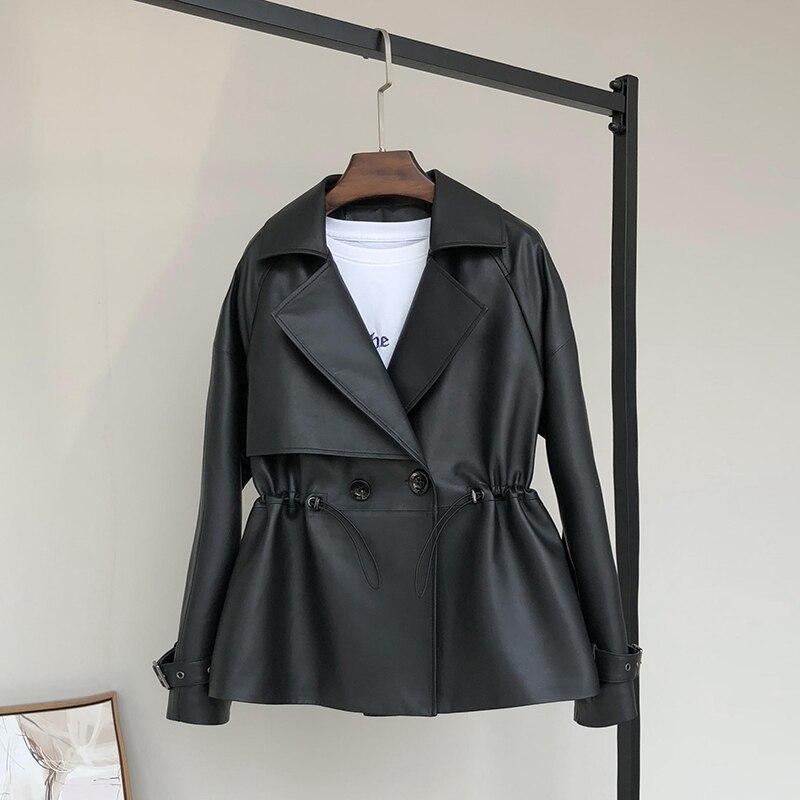 Nerazzurri Black short faux leather jacket women drawstring long sleeve double breasted plus size fall 2020 pu leather jackets