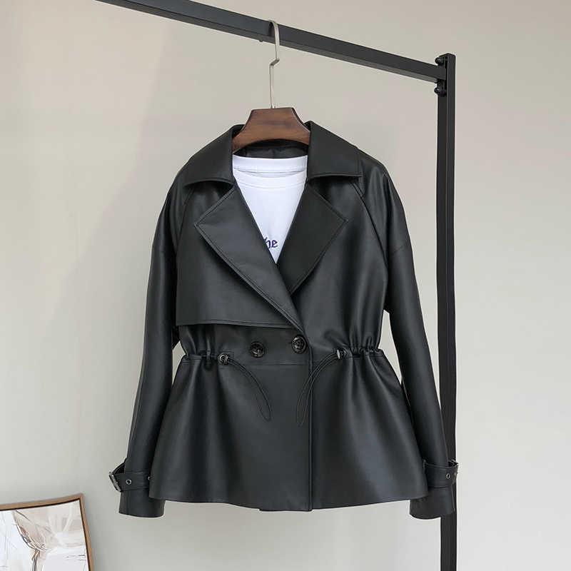 Nerazzurri שחור קצר דמוי עור מעיל נשים בתוספת גודל טור כפתורים כפול שרוך ארוך שרוול סתיו 2019 עור מפוצל מעילים